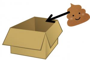 充填率を説明するための箱とうんこ